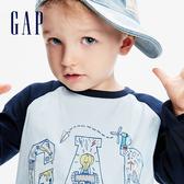 Gap男幼童 Logo創意印花圓領長袖T恤 617861-淡藍色