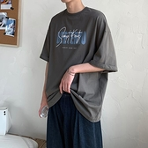 短袖t恤男潮流帥氣寬鬆港風五分半袖男生體恤夏季簡約百搭