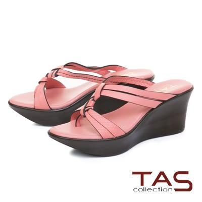 ★2018新品★TAS質感壓紋立體雙結繫帶楔型涼拖鞋-甜美粉