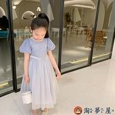 愛莎公主裙女泡泡袖兒童連身裙冰雪奇緣艾莎裙子【淘夢屋】