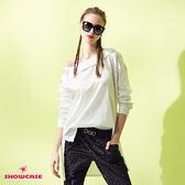 【SHOWCASE】氣質鈄領露肩前短後長襯衫上衣(白)