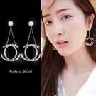 925純銀針  韓國優雅氣質  雙C滿鑽光彩亮麗耳環-維多利亞181232