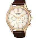 CITIZEN 星辰 亞洲限定光動能計時手錶-玫瑰金框x咖啡/42mm CA4413-19A