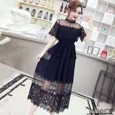 連身裙.洋氣黑色裙子女夏裝新款名媛氣質蕾絲裙很仙的連身裙大擺裙長裙潮..花戀小鋪