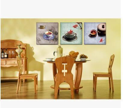裝飾畫現代餐廳無框畫三聯畫壁畫印象油畫牆畫家飾掛畫茶杯