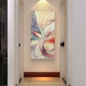 現代簡約抽象油畫 玄關裝飾畫 豎版走廊壁畫 客廳北歐掛畫酒店樣板間xw 中秋鉅惠