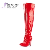 性感夜店超高跟10cm細跟尖頭漆皮彈力膝上靴超長筒靴高筒靴銅管舞靴『櫻花小屋』