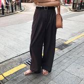 2018韓范簡約百搭顯瘦直筒高腰褶皺西裝長褲地拖褲女 【快速出貨八五折鉅惠】