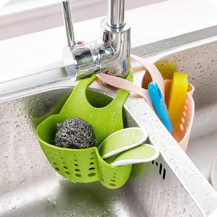 可掛式加厚瀝水籃 掛扣式 衛浴 廚房 洗漱 海綿 菜瓜布 按扣式水槽收納袋 瀝水架【歐妮小舖】