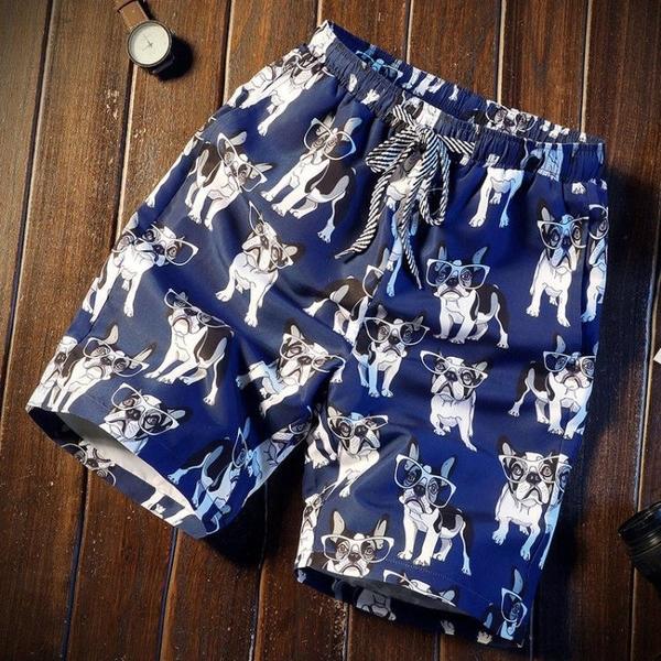 海灘褲 夏季薄款印花沙灘短褲男胖子加肥大碼中褲寬鬆直筒潮牌速干五分褲 夢藝