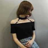 夏季新款韓版修身顯瘦短款掛脖短袖T恤圓環學生一字領露肩上衣潮日系森林