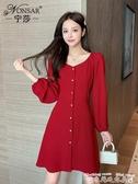 紅色洋裝秋裝2020年韓版新款時尚復古氣質小紅裙顯瘦百搭單排扣連身裙女潮 衣間迷你屋