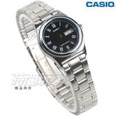 CASIO卡西歐 LTP-V006D-1B 經典簡約時尚 纖細小圓錶 黑色 女錶 指針錶 不銹鋼 LTP-V006D-1BUDF