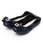 G.Ms. 水鑽蝴蝶結牛皮彎折娃娃鞋-黑色