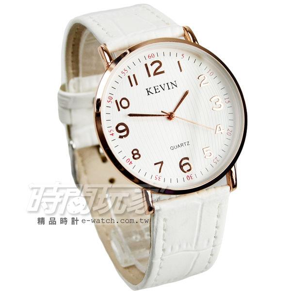 KEVIN 數字時刻簡約時尚腕錶 防水手錶 皮革錶帶 中性錶/男錶/女錶/都適合 白色x玫瑰金 KV3068白大