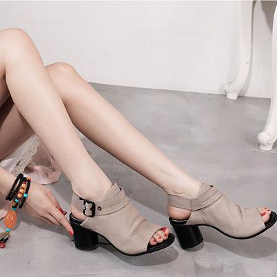 真皮涼鞋女 魚嘴粗跟涼鞋 休閒高跟涼鞋/2色-夢想家-標準碼-0330