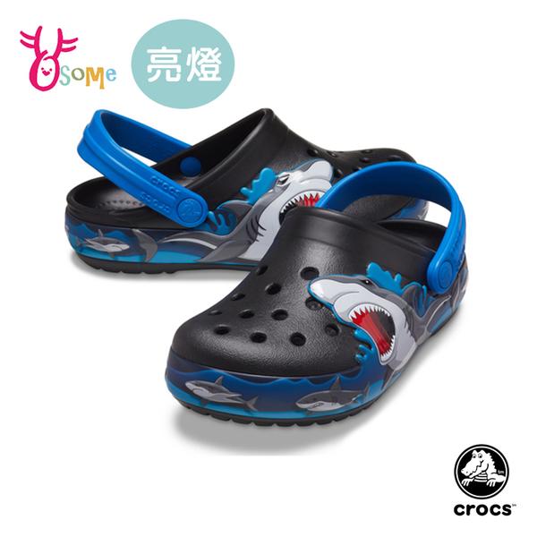 Crocs卡駱馳童鞋 男童洞洞鞋 LED電燈布希鞋 鯊魚布希鞋 智必星 園丁鞋 防水布希鞋 電燈鞋 A1779#黑藍