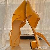 小ck女鞋2021春夏季新款歐美羅馬鞋交叉帶尖頭粗跟中跟包頭涼鞋女快速出貨