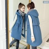 馬甲背心無袖外套L-5XL中大尺碼假兩件羽絨服女冬季中長款連帽保暖加厚修身外套1F0166886韓衣裳