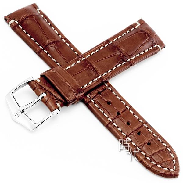 【台南 時代鐘錶 海奕施 HIRSCH】鱷魚皮錶帶 Viscount L 亞光棕色 附工具 10270779 百米防水 光滑表皮
