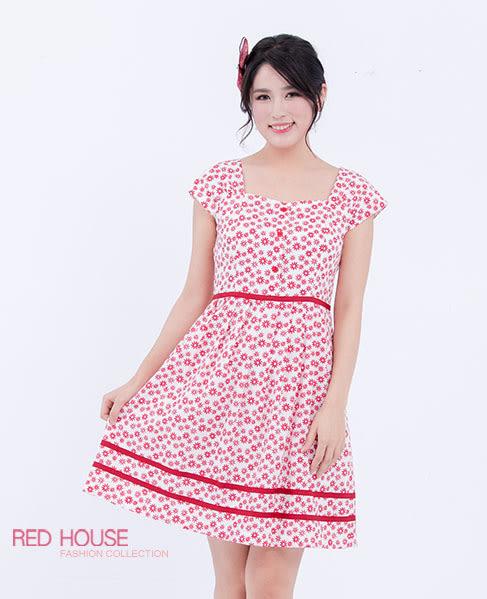 RED HOUSE-蕾赫斯-心型領雪花圖案洋裝(共2色)