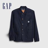Gap男裝 簡約純色翻領牛仔外套496521-水洗色