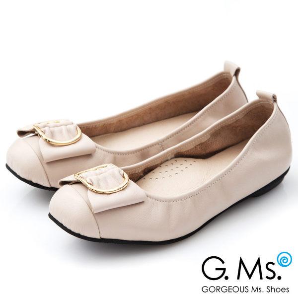 G.Ms.*MIT系列-牛皮金屬穿釦蝴蝶結娃娃鞋*米灰