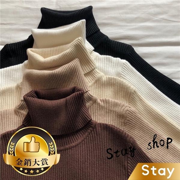 【Stay】韓版彈性修身高領保暖素色針織上衣 長袖上衣 長袖t恤 女裝 衣服 毛衣 套頭【W142】