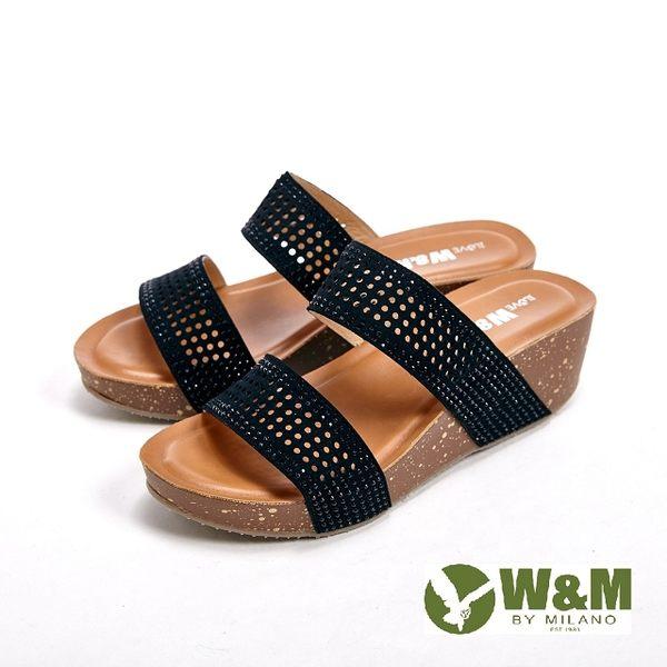 【W&M】雙橫帶設計 格紋雕花直套式拖鞋女鞋-黑(另有灰)