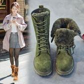 雪地靴女 皮靴 冬季新款復古真皮加厚女軟底棉靴百搭加絨保暖長靴高筒靴《小師妹》sm2721