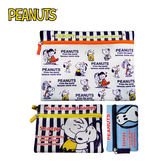 C款【日本正版】史努比 收納包 三件組 收納袋 卡片包 零錢包 Snoopy PEANUTS - 008561