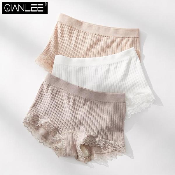 3條裝 平角內褲女莫代爾薄款透氣舒適無縫中腰四角安全褲蕾絲邊夏