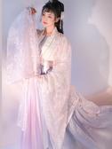 古裝春櫻漢服女中國風古裝超仙仙氣飄逸古風改良學生齊胸齊腰仙女襦裙 伊蘿鞋包