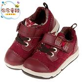 《布布童鞋》Moonstar日本酒紅色學院格紋蝴蝶結兒童機能運動鞋(15~19公分) [ I9U502A ]