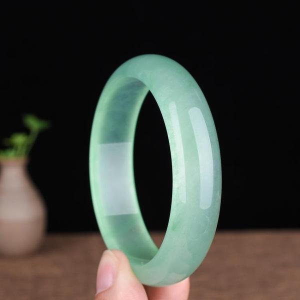 玉鐲 玉石匠緬甸冰種翡翠鐲子淺綠淡綠色少女款玉手鐲油青色玉鐲子 -