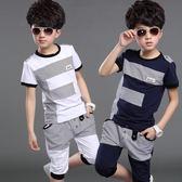 男童套裝童裝夏裝純棉韓版新款運動休閒短袖T恤大中童兩件套裝 mc6750『優童屋』
