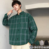 【OBIYUAN】長袖襯衫 寬鬆 線條格紋 休閒長袖衣服 共3色【FJD1831】