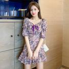 VK精品服飾 韓國風蝴蝶結燈籠泡泡袖V領碎花短袖洋裝