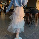 網紗仙女裙 2019春夏季新款蛋糕裙中長款高腰紗裙學生網紗半身裙超仙女長裙子 果寶時尚