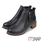 短靴-TTSNAP 復古時尚雙拉鍊木紋中跟靴 黑