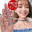 925純銀針  韓國優雅氣質 彩鑽花圈 ...