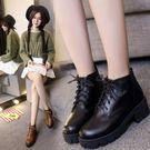 一件免運-粗跟加絨馬丁靴女復古高跟厚底短靴正韓英倫風單靴