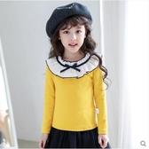 女童長袖T恤秋冬裝新款洋氣棉加絨加厚兒童打底衫女孩中大童上衣 蘿莉小腳丫