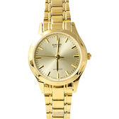 CASIO卡西歐簡約俐落金色女腕錶 經典自信閃耀 柒彩年代【NEC122】