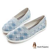 Hush Puppies 幾何單寧咖啡紗TiTi懶人鞋-淺藍