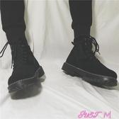 馬丁靴男增高黑色中筒休閒靴子韓版復古皮靴高筒工裝英倫潮流男鞋春季新品