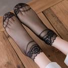 蕾絲襪子 黑色鏤空蕾絲襪子女花邊短襪淺口網紗透明中筒純棉底腳面透明絲襪-Ballet朵朵