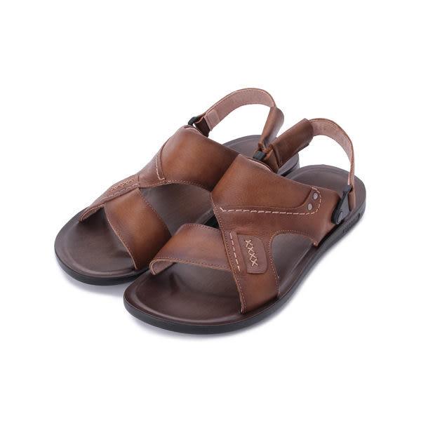 BONJO 真皮革面兩用涼鞋 棕 男鞋 鞋全家福