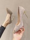 高跟鞋 春季新款金屬頭黑色韓版高跟鞋細跟性感百搭職業女鞋尖頭單鞋