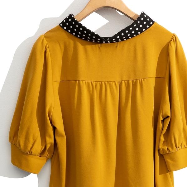 早秋上市[H2O]點點領巾造型五分袖上衣 - 黃/黑/白色 #0631004